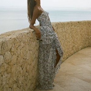 NWT SABO SKIRT Fiore Dress Dusty Blue Floral Polka